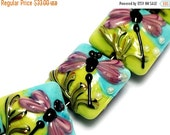 ON SALE 30% OFF Four Purple Dragonfly Pillow Beads -10504414 - Handmade Lampwork Glass