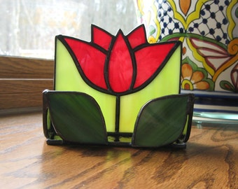 Stained Glass Red Flower Business Card Holder-Floral Stained Glass-Desk Accessory-Desk Organizer-Floral Business Card Holder