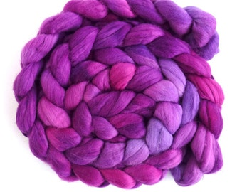 Pre-Order Colorway, Rambouillet Wool Roving - Hand Painted Spinning or Felting Fiber, Summer Purples