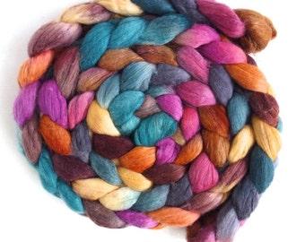 Merino/ Silk Roving (Top) - Handpainted Spinning or Felting Fiber, Seasonal Shift