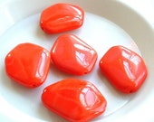LARGE Beads Coral Salmon Czech Glass Bead 25mm x 18mm Vintage 1980s - set of 5 - great for pendants