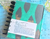 Hattie - 7x9 Disc Bound Journal with Ephemera Paper Inserts for Art Journaling or Planners