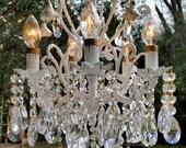 Petite Antique Chandelier, Cottage Roses Chandelier, Small Crystal Chandelier, Antique Lighting, Home Decor
