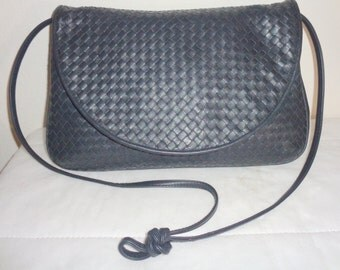 Woven Leather Ganson  evening bag, opulent clutch,  satchel , purse in buttery deep navy genuine leather vintage 80s rare , N MINT condition