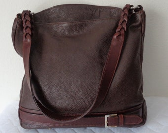 Valentina Italy lrg tote, hobo style bag ,top handle satchel, purse vintage all thick Italian deep brown leather