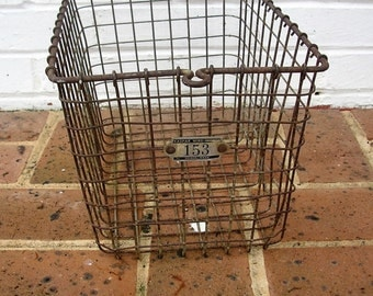 Industrial Vintage Basket Gym Basket Metal Wire Basket Vintage Locker Basket Kaspar Wire Works