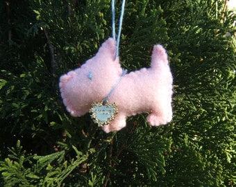 pink scottie dog ornament  - amour charm