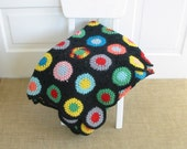 Vintage Crochet Blanket Afghan Child Knit Circles Colorful Bright Black