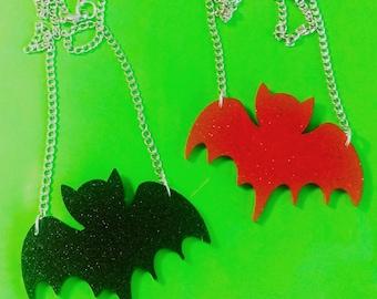 Laser Cut Acrylic Glitter Bat Necklace