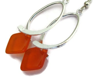 Orange Earrings , Orange and Silver Dangle Earrings