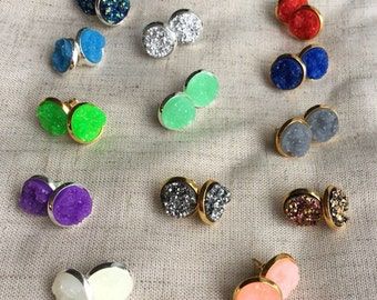 Druzy earrings, Faux Druzy stud earrings, Druzy stud earrings, Boho Jewelry, rose gold druzy earrings