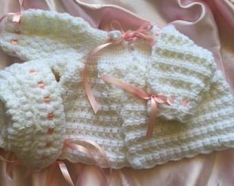 Crochet baby sweater, baby girl sweater, three to six month old sweater, baby crocheted sweater, crochet baby bonnet, crocheted bonnet
