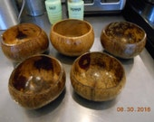 Vintage Lot of 5 Coconut Bowls marked Made in the Philippines