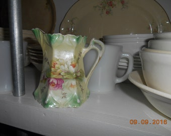 Vintage Porcelain Creamer Light green with pink and white flowers