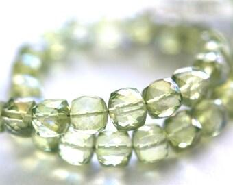 Gorgeous Springtime Green Peridot Quartz Faceted Cube Gemstone Beads, Pillow Cubes,  6 mm, Parcel of 8