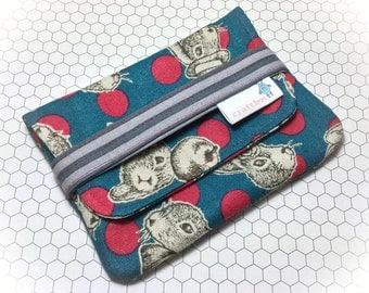 Rabbit Coin Purse, Moleskin Journal Holder, Passport Holder, Polka Dot Clutch, Bunny Purse, Blue Red Bag, Ladies Wallet, Easter Gift, Phone