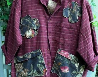 Plus Size Smock/ Garden Smock/ Upstyled Man's Shirt Smock/ 2-3X Decorated Smock/ Sheerfab Funwear