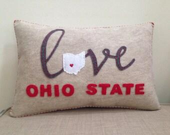 Felt Ohio State OSU Buckeyes Accent Pillow