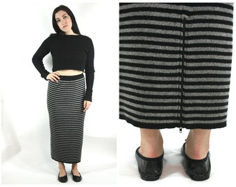 90s Knit Striped Maxi Skirt / Minimal Grunge Black and Grey Sweater Skirt with Zipper Detail / Size M/L Medium Large