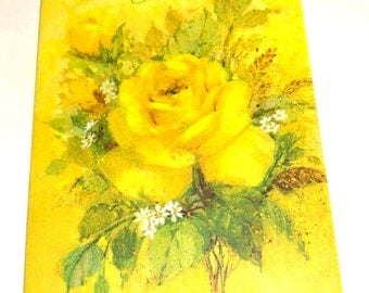 Vintage Birthday Wishe Card for Mother, Greeting Card, Happy Birthday, Yellow Rose Bouquet, Flower, Scrapbook, Crafting, Hallmark   (208-16)