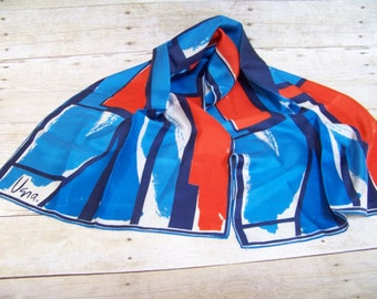 Vintage Vera Scarf Red White Blue Long Scarf 1970 All Silk Abstract Style Handrolled Japan Head Wrap