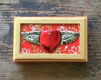 Red and Gold Mexican Winged Heart Mini Shrine Valentine