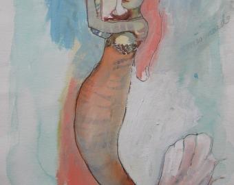 Mermaid, Original abstract mixed media painting on paper,