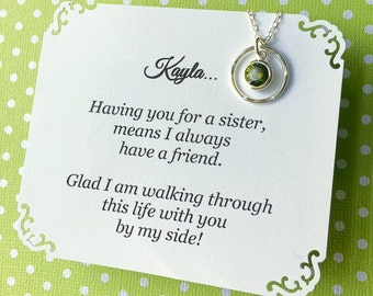 SISTER BIRTHSTONE Necklace - Stunning Cubic Zirconia in any month color - Birthstone Jewelry Choice of POEM, add her name - Sister Gift