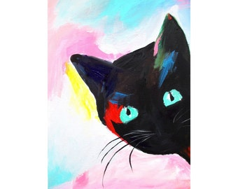 Original Painting On Canvas * CURIOUS CAT By Rodriguez