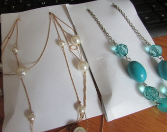 2 pearl, teal necklaces