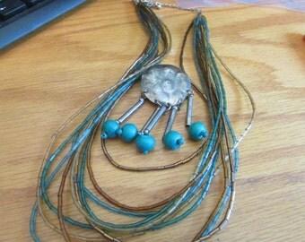 many strand bead necklace plus