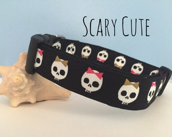 Black, White, Pink Skulls Dog Collar