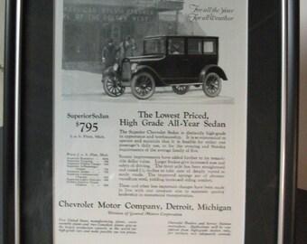 """Framed """"Chevrolet Sedan"""" Car Ad"""