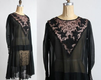 ON SALE 1920s Lace Dress FLAPPER