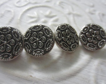 Vintage Buttons -  pressed and molded, pewter metal lot of 4 matching (aug 13b)