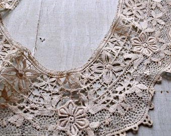 Antique Victorian Schifli Collar Ivory Cream White Wedding Chemical lace Floral