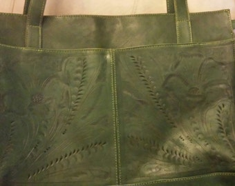 Leaders and Leathers Tooled Green Tote Bag