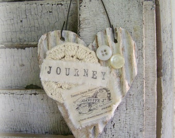 Shabby White Decor Vintage Heart Ornament Journey Mixed Media Cottage Style Heart Wall Hanging Antique Paper Heart Ornament
