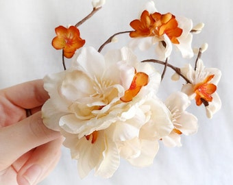 fall hair clip, ivory hair flower, fall hair accessories, fall wedding, bridal hair comb, ivory hair clip, floral hair clip, rustic orange