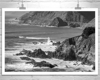 Big Sur Art, Pacific Coast Highway, Black and White, Seascape Print, California Coast, Road Trip, Picture Gift, Print On Canvas