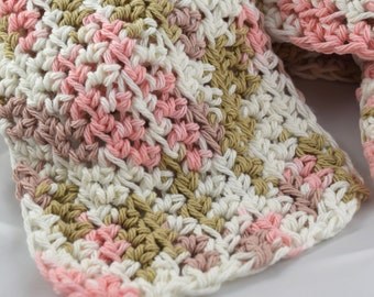Light and Lacy Tumbleweed pink brown and white multicolor snuggly 100 percent cotton crochet scarf
