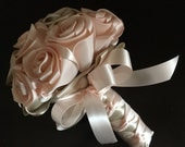 Bridesmaids bouquet in handmade satin roses in the colors NUDE/OATMEAL
