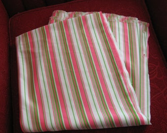 Bright Pink, White and Bright Green Striped 100% polyester Fabric Remnant - 46 1/2 by 61 inches