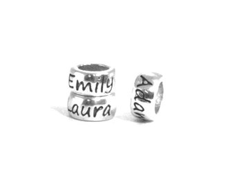 Personalized beads cursive font.  Fits Pandora beads bracelets. .925 sterling silver. Any name word or symbol