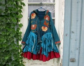 XL Little Bird Teal Hoodie Bohemian Upcycled Jacket Coat// Reconstructed// emmevielle