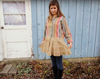 Lg. Pastel Stripe Woven Babydoll Blouse// Upcycled Shabby Chic// emmevielle