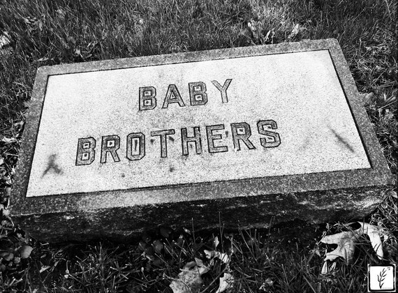 B&W Photograph, wall art, home decor, photo print, fine art, headstone, cemetery, sad, creepy, grave, Indianapolis, Indiana