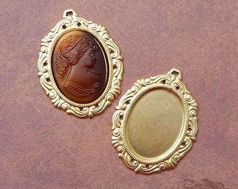 Vintage Brass 25x18 Victorian Style Cameo Setting, Stamping, Mount or Frame (2 pc)