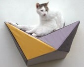 Cat shelf wall bed in mustard, grey & charcoal