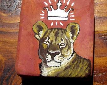 OOAK original recycled wood painting african lion Savanna Queen